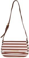 Giordano Women Brown, White Genuine Leather Sling Bag