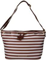 Giordano Women Brown, White Genuine Leather Shoulder Bag
