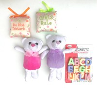 Aparnas Two small teddy with fragnance scented plush pillow and magnetic ABCD(Multicolor)