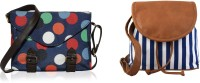 Kleio Women Blue, Blue, Brown Canvas, PU Sling Bag