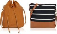 Kleio Women Black, Tan, Beige Canvas, PU Sling Bag