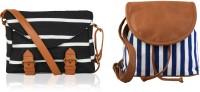 Kleio Women Black, Blue, Brown Canvas, PU Sling Bag