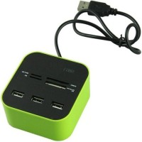 TECHNIGENT All In One COMBO 3 Port With Multi USB Hub Card Reader(Grean)