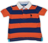 US Polo Kids Boys Striped Cotton T Shirt(Orange, Pack of 1)