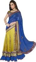 MAHOTSAV Self Design Lehenga Saree Net, Satin Saree(Blue, Green)