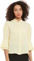 Femella Women Solid Casual Yellow Shirt