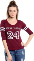 The Dry State Printed Women Round Neck Maroon T-Shirt