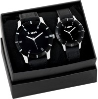 Xeno ZD206BB Leather Ladies & Gents Two Combo New Look Fashion Stylish Titanium Men & Woman Watch  - For Couple