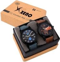 Xeno 602-603 Leather Chronograph Two Combo New Look Fashion Stylish Titanium Men & Woman Watch  - For Boys & Girls