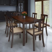 View Perfect Homes by Flipkart Fraser Rubber Wood 6 Seater Dining Set(Finish Color - Walnut) Furniture (Perfect Homes by Flipkart)