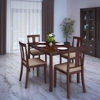 View Perfect Homes by Flipkart Fraser Rubber Wood 4 Seater Dining Set(Finish Color - Walnut) Furniture (Perfect Homes by Flipkart)