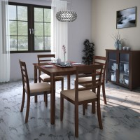 Flipkart Perfect Homes Hayman Engineered Wood 4 Seater Dining Set(Finish Color - Walnut)