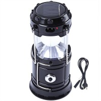 View BalRama 6+1 LED Light Rechargeable Solar Light Collapsible Solar Camping Lantern LED Torch Flashlight with Dual Power Recharger Solar & AC Electricity 220v + Portatable Hand Lamp with Hooks + Charging Cable with Indicator + USB Output for Mobile Charging Jia Hao JH-5800T Solar Lights(Black) Home Appliances Price Online(BalRama)