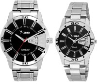 Xeno DD24COUPLE Latest Modish Black Designer Combo New Look  Stylish Day Date Boys & Girls or Men & Women Watch  - For Couple