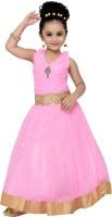Adiva Girls Maxi/Full Length Party Dress(Pink, Sleeveless)