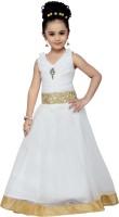 Adiva Girls Maxi/Full Length Party Dress(White, Sleeveless)