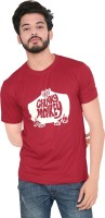 Blare Boom Graphic Print Men's Round Neck Red T-Shirt