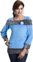 TeeMoods Casual Full Sleeve Self Design Women's Blue Top