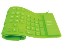 Oxza 109 Keys With Numeric Keys Silicone Rubber Waterproof Flexible Foldable Wired USB Laptop Keyboard(Green)
