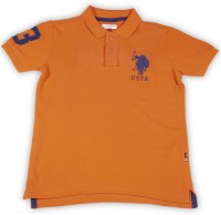 US Polo Kids Boys Solid Cotton T Shirt(Orange, Pack of 1)
