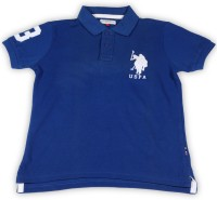 US Polo Kids Boys Solid Cotton T Shirt(Dark Blue, Pack of 1)