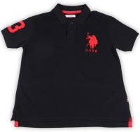 US Polo Kids Boys Solid Cotton T Shirt(Black, Pack of 1)
