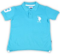 US Polo Kids Boys Solid Cotton T Shirt(Light Blue, Pack of 1)
