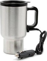 Bluebells India Car Travel Electric Mug Silver Double Wall Stainless Steel for Hot Coffee Drinks Spill Proof Cup Electric Kettle(0.45 L, Silver)