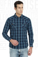 Metronaut Men Checkered Casual Blue Shirt