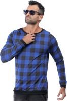 Rodid Checkered Men's Boat Neck Blue T-Shirt