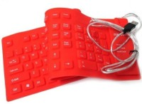 Oxza 109 Keys With Numeric Keys Silicone Rubber Waterproof Flexible Foldable Wired USB Laptop Keyboard(Red)