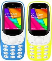I Kall K35 Combo Of Two Mobile(Light Blue, Yellow)