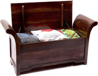 View Induscraft Solid Wood Trunk(Finish and Fabric Color - Brown) Furniture (Induscraft)