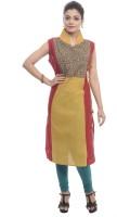 BANDHAN CREATIONS Festive & Party Applique Women's Kurti(Yellow)
