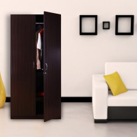 View HomeTown Willy Engineered Wood 2 Door Wardrobe(Finish Color - Walnut) Furniture (HomeTown)