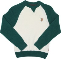 US Polo Kids Solid Round Neck Casual Boys White Sweater