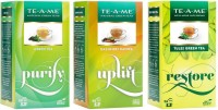 TE-A-ME Green Tea - Pack of 3 (Green, Kashmiri Kahwa, & Tulsi Green) Unflavoured, Tulsi Green Tea Bags(75 Bags, Box)