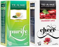 TE-A-ME GREEN TEA COMBO (Green Tea & Cranberry) Cranberry, Apple Green Tea Bags(50 Bags, Box)