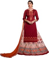 Patiala House Silk Embroidered Semi-stitched Salwar Suit Dupatta Material