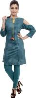 BANDHAN CREATIONS Festive & Party Self Design Women's Kurti(Green)