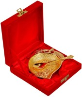 Shreeng Gold Plated Mango Shaped Bowl With Spoon 2 Pcs. Brass Decorative Platter(Gold, Pack of 2)