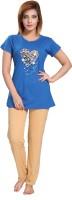 Fabme Women's Printed Blue, Beige Top & Pyjama Set