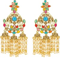 Luxor Traditional Multicolor Diamond, Pearl Alloy Jhumki Earring