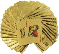 VibeX ® Creative Pound Gold Playing Cards Carat Gold Plated Game Waterproof Poker(Gold)
