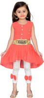 Adiva Girls Midi/Knee Length Party Dress(Orange, Sleeveless)