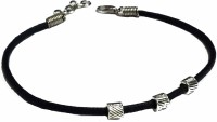 gurjari Black Thread ANKLET with Attached 3 Carving Square Metal Beads Cotton Dori Anklet