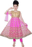 Saarah Girls Festive & Party Kurta, Churidar & Dupatta Set(Pink Pack of 1)
