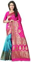 Avsar Prints Self Design, Woven Banarasi Banarasi Silk Saree(Pink, Light Blue)