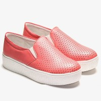 TEN Peach Flat Casual Shoes Slip On Sneakers For Women(Red)