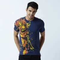 Huetrap Graphic Print Men's Round Neck Blue T-Shirt
